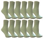 60 Units of Womens Fuzzy Snuggle Socks Mint, Size 9-11 Comfort Socks - Womens Fuzzy Socks