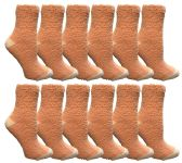 60 Units of Womens Fuzzy Snuggle Socks , Size 9-11 Comfort Socks Orange With White Heel and Toe - Womens Fuzzy Socks