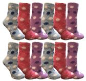 60 Units of Yacht & Smith Women's Fuzzy Snuggle Socks , Size 9-11 Comfort Socks Assorted Polka Dots - Womens Fuzzy Socks