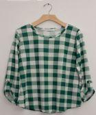 12 Units of Plus Checker Three Quarter Sleeve Top Green - Womens Fashion Tops