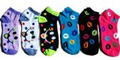 60 Units of Womens Junior Girls Printed Ankle Socks Size 9-11 Smiley Faces And Kisses - Womens Ankle Sock