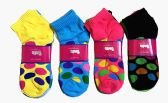 60 Units of Womens Junior Girls Printed Ankle Socks Size 9-11 Polka Dots Printed Socks - Womens Ankle Sock