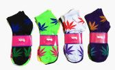 60 Units of Womens Junior Girls Printed Ankle Socks Size 9-11 Marijuana Printed Socks - Womens Ankle Sock