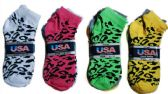 60 Units of Womens Junior Girls Printed Ankle Socks Size 9-11 Animal Printed Socks - Womens Ankle Sock