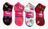 60 Units of Womens Junior Girls Printed Ankle Socks Size 9-11 Sexy Lip Printed Socks - Womens Ankle Sock