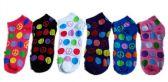 60 Units of Womens Junior Girls Printed Ankle Socks Size 9-11 Polka Dot Peace Printed Socks - Womens Ankle Sock