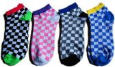 60 Units of Womens Junior Girls Printed Ankle Socks Size 9-11 Checker Board Printed Socks - Womens Ankle Sock