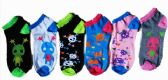 60 Units of Womens Junior Girls Printed Ankle Socks Size 9-11 Alien Printed Socks - Womens Ankle Sock