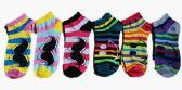 60 Units of Womens Junior Girls Printed Ankle Socks Size 9-11 Mustache Emoji Smiley Socks - Womens Ankle Sock