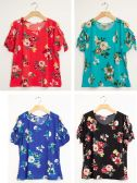 24 Units of Plus Floral Cold Shoulder Tie Top Assorted - Womens Fashion Tops