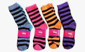 60 Units of Womens Junior Girls Printed Crew Socks Size 9-11 Stripe Printed Crew Socks - Womens Crew Sock