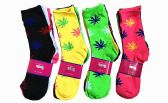 96 Units of Womens Junior Girls Printed Crew Socks Size 9-11 Marijuana Printed Socks - Womens Crew Sock