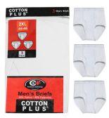 36 Units of Men's 3 Pack White Cotton Brief, Size 2XLarge - Mens Underwear