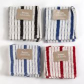 72 Units of Dish Cloth Terry Stripped 2pk 12 X 12 4 Assorted Colors - Kitchen Towels