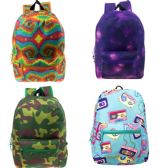 """24 Units of 17"""" Wholesale Kids Classic Padded Backpacks in 4 Assorted Unique Prints - Backpacks 17"""""""