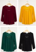 24 Units of Three Quarter Sleeve Solid Bar Neck Top Assorted - Womens Fashion Tops