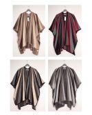 24 Units of Vertical Multi Stripe Cape Assorted - Womens Sweaters & Cardigan