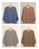 24 Units of Three Quarter Sleeve Button Back Blouse Assorted - Womens Sweaters & Cardigan