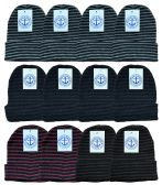 36 Units of Yacht & Smith Unisex Winter Knit Hat With Stripes - Winter Beanie Hats