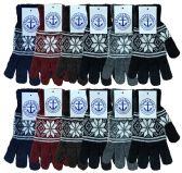 36 Units of Yacht & Smith Snowflake Print Mens Winter Gloves With Stretch Cuff - Knitted Stretch Gloves