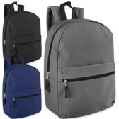 24 Units of 17 Inch Solid Backpack - 3 Color Assortment - Backpacks 17""