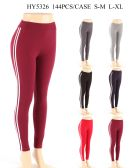 144 Units of Womens Legging With Stripe In Assorted Colors - Womens Leggings