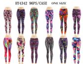 96 Units of Women's Printed Active Legging - Assorted Prints - Womens Leggings