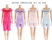 48 Units of Womens Summer Pajama With Ruffle In Assorted Color - Women's Pajamas and Sleepwear