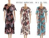 48 Units of Womens Long Feather Printed Summer Sun Dress - Womens Sundresses & Fashion