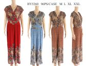 48 Units of Womens Long Feather Printed Romper - Womens Rompers & Outfit Sets