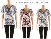 48 Units of Womens Printed Floral Tee Shirt - Womens Fashion Tops