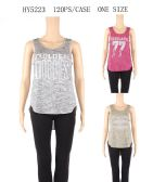 120 Units of Womens Printed Golden Goodies Tank Top - Womens Camisoles & Tank Tops