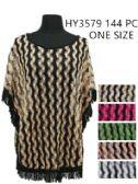 144 Units of Womens Summer Zig Zag Poncho With Fringes - Womens Fashion Tops