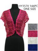 144 Units of Womens Summer Fashion Shrug Assorted Colors - Womens Fashion Tops