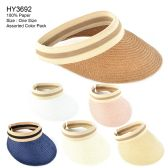 30 Units of Womens Paper Sun Visor Assorted Color - Sun Hats