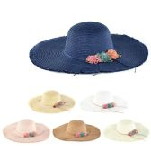 30 Units of Womens Paper Sun Hat With Rope And Flower - Sun Hats