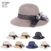 30 Units of Womens Paper Bucket Hat With Ribbon Bow And Flower - Sun Hats