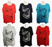 48 Units of Womens Butterfly Tee Shirt Assorted Color - Womens Fashion Tops