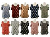 48 Units of Womens Assorted Color Gold Polka Dot Tee - Womens Camisoles & Tank Tops