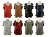 48 Units of Womens Assorted Color Gold Toned Tee - Womens Camisoles & Tank Tops