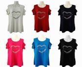 48 Units of Womens Assorted Color Love Tee Shirt - Womens Fashion Tops