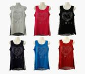 48 Units of Womens Assorted Color Love Tee Shirt With Striped Back - Womens Fashion Tops