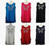 48 Units of Womens Assorted Color Butterfly Tank Top - Womens Camisoles & Tank Tops