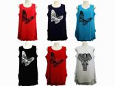 48 Units of Womens Assorted Color Butterfly Tank Top - Womens Fashion Tops
