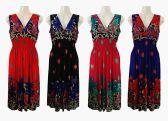 48 Units of Womens V Neck Elastic Waist Summer Dress - Womens Sundresses & Fashion