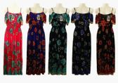 48 Units of Womens Floral Spaghetti Strap Long Summer Beach Dress With Elastic Waist - Womens Sundresses & Fashion