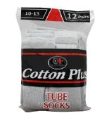 120 Units of Men's 12 Pair Pack Long Heather Grey Tube Socks, Size 10-13 - Mens Tube Sock