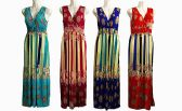 48 Units of Womens Fashion Cotton V Neck Sun Dress With Gathered Waist Assorted Colors - Womens Sundresses & Fashion