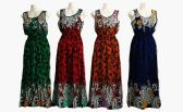 48 Units of Womens Fashion Cotton Round Neck Sun Dress With Gathered Waist Assorted Colors - Womens Sundresses & Fashion