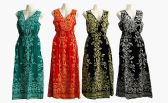 48 Units of Womens Fashion Long V Neck Sun Dress With Gathered Waist Assorted Colors - Womens Sundresses & Fashion